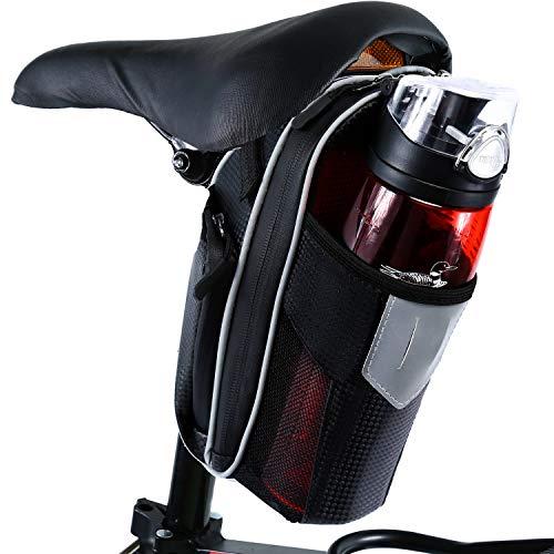 Selighting Bolsa de Sillin Bicicleta, Bolsa Bicicleta Montaña Alforja Bolsa Trasera Bicicleta Impermeable con Compartimento Botella (Gris)