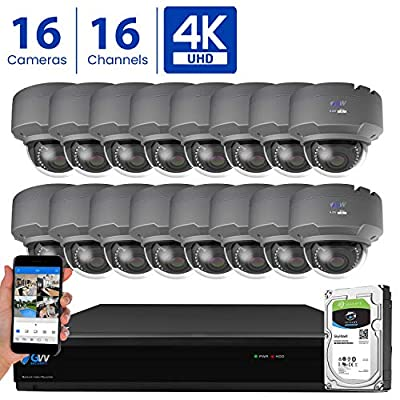 GW 16 Channel 4K H.265 CCTV DVR Security Camera System with (16) x UHD 8MP 2.8-12mm Varifocal Zoom 4K Dome Surveillance Cameras and 4TB HDD, Free Remote View, Motion Alert with Snapshot