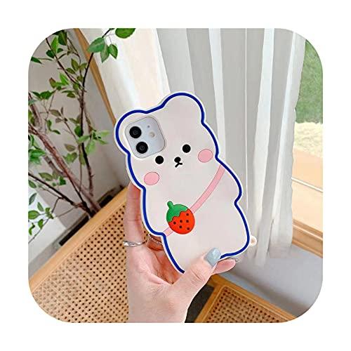 3D oso lindo moda dibujos animados silicona suave TPU cubierta trasera teléfono para iphone 12 mini 11pro max XS X XR 8 7 6plus SE20-a-para Iphone 12 Promax