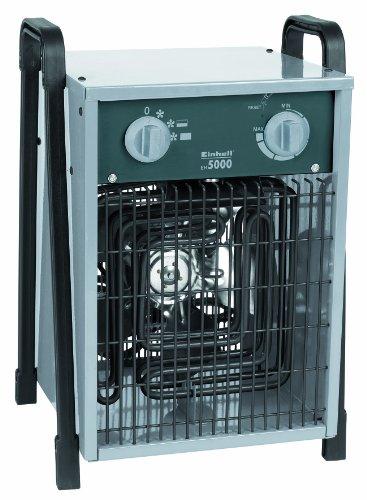 Einhell Elektro-Heizer EH 5000 (400 V, 5.000 W max., spez. Heizelemente, 2 Heizstufen, Axiallüfter, stufenloser Thermostatregler, Spritzwasserschutz)