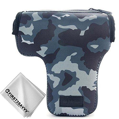 Camouflage blu Custodia per fotografiche per Nikon D7500 D7200 D7100 D5600 D3400 D5500 D3300 D5300 D5200 D5100 D5000 D3200 D90 D80 D3100 D3000 Adatto a 18-55mm Lens