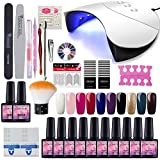 Saint-Acior 10pc Vernis Semi Permanent 36w UV/LED Lampe Pour Sécher Vernis A Ongle Soak Off UV Gel Base Top Coat Brosse Strass Décor Nail Outils Nail Art Kit...