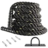 XMSound Battle Rope 1.5' Battle Exercise Training Rope 30ft/40fT Length Workout for Strength...