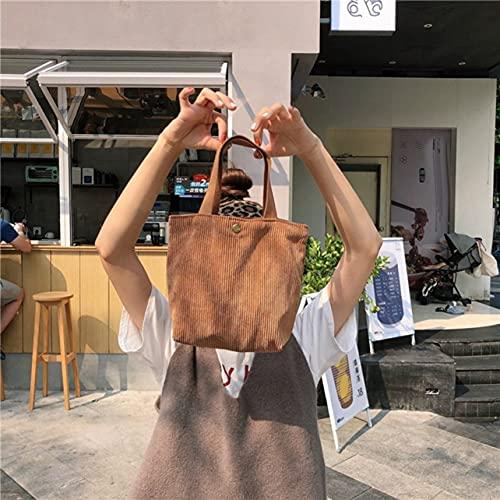 OKAYOU ハンドバッグハンドヘルドミニコーデュロイバッグ女性文学ソリッドショッピングハンドバッグレディースヴィンテージトートカジュアルショルダーバッグ