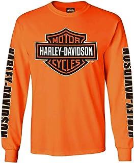 Harley-Davidson Men's Bar & Shield Long Sleeve Crew-Neck Shirt, Safety Orange