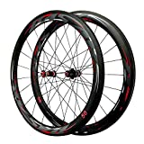 SJLA 700C Ruedas para Bicicleta,50mm Fibra de Carbon Liberación Rápida Grupo Ruedas 20 Agujeros Delanteros/24 Agujeros Traseros Bicicleta de Carretera