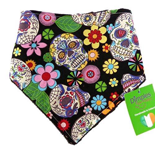 Dimples Hundehalstuch - Mexikanische Totenköpfe schwarz - Halstuch für kleine mittlere und Grosse Hunde Welpen und Katzen - Hunde Besitzer Geschenk - Handgemachtes Hunde Accessoire 45cm