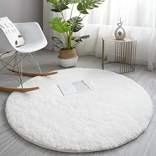 Eastbride Home In- & Outdoor Teppich,Dicker Lammsamtteppich, runder waschbarer Teppich-cremeweiß_140cm,Wohnzimmer Teppich Pflegeleicht