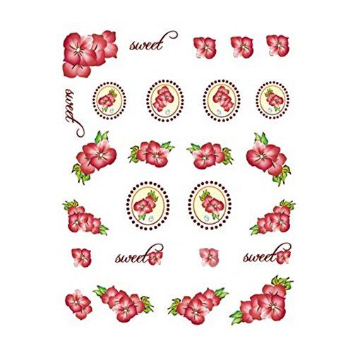 5Pcs Belle Motif Fleurs Nail Art Tips Sticker Décoration, BLE2043
