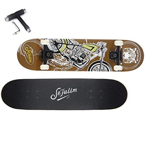 sefulim Skateboard Mädchen Skateboard Erwachsene - No Rules Skateboard Komplett Mit ABEC-7 Kugellager und 95A Rollenhärte Stabil PU-Rollen (Mehrfarbig)