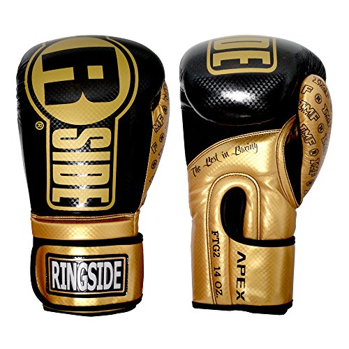 Ringside Apex Flash Boxing Training Sparring Gloves, BK/GD, 16 oz