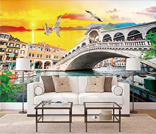 Fototapete 3D Effekt Tapete Anfahrt Von Retro Venice City Brücke Vliestapete 3D Wallpaper Moderne...
