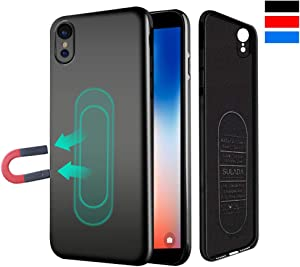 Case for iPhone XR,Ultra Thin Magnetic Phone Case for Magnet Car Phone Holder with Invisible Built-in Metal Plate,Soft TPU Shockproof Anti-Scratch Protective Cover for iPhone XR(2018) 6.1''[Black]