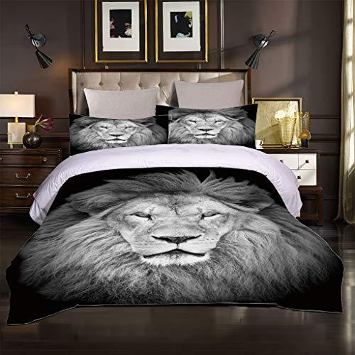 OJYUXD Bedding - Duvet Cover Set - Double Size Animal Lion 3 Pieces Breathable Soft And Cozy Microfibre Duvet Cover Set 180 X 220Cm With 2 Pillowcase 50 X 75Cm