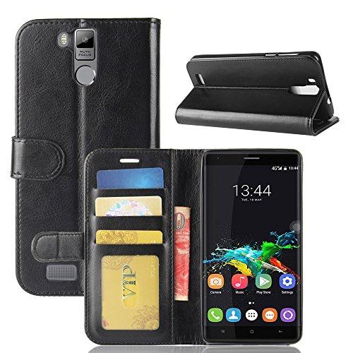 MINGYOUNG Leder Hülle für Oukitel K6000 Pro,Flip Case Wallet Stylish mit Magnetisch Ledertasche SchutzHülle für handyHülle fürn Cover (Schwarz)