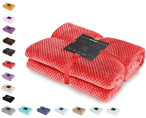 DecoKing Kuscheldecke 220x240 cm rot Decke Microfaser Wohndecke Tagesdecke Fleece weich sanft kuschelig skandinavischer Stil Henry