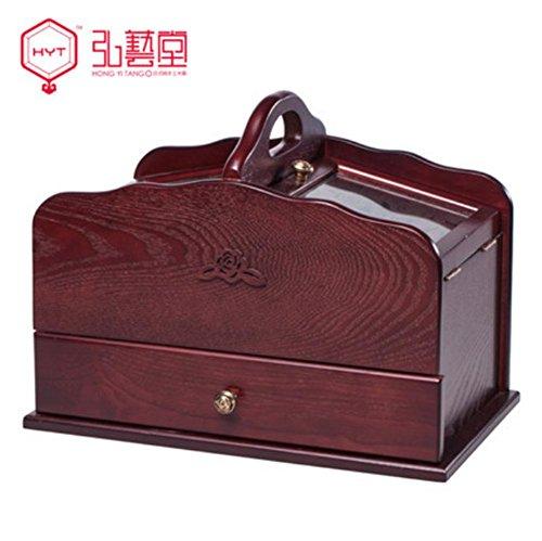 XYLUCKY Rétro à la main en bois creux boîte de couture sculpté grande boîte de rangement tiroir boîte de rangement de bureau , red wine