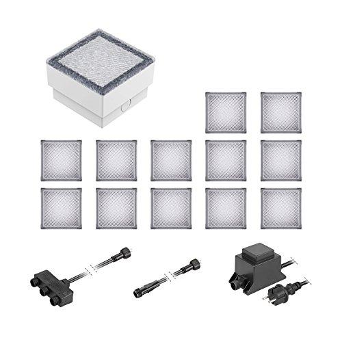 ledscom.de LED Pflaster-Stein Gorgon Boden-Einbauleuchte für außen, 10x10cm, 12V, warm-weiß 13er Set