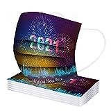 YpingLonk 20/100PC Unisex Adult Protective 2021 Impreso Bufanda de Año Universal Lindo impresión 3 Capas Suave Elástico Earloop Bufanda para Mujeres Hombres -21203-8