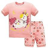 Pijama Corto de Verano para Niño, Morbuy Bebe Niña Dos Piezas Conjunto de Pijamas 100% Algodón Informal Camisa de Manga Corta Camisetas y Pantalones Cortos Conjunto 1-7 Años (Estrellas Lunares,7T)