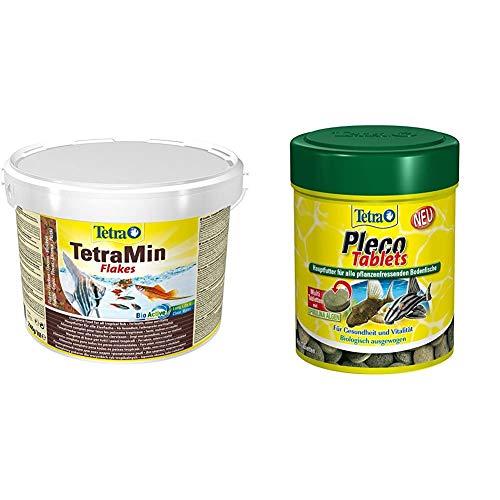 TetraMin Hauptfutter für alle Zierfische in Flockenform, 10 L Eimer & Pleco Tablets – Nährstoffreiches Hauptfutter für alle pflanzenfressenden Bodenfische (z.B. Welse), Verschiedene Größen