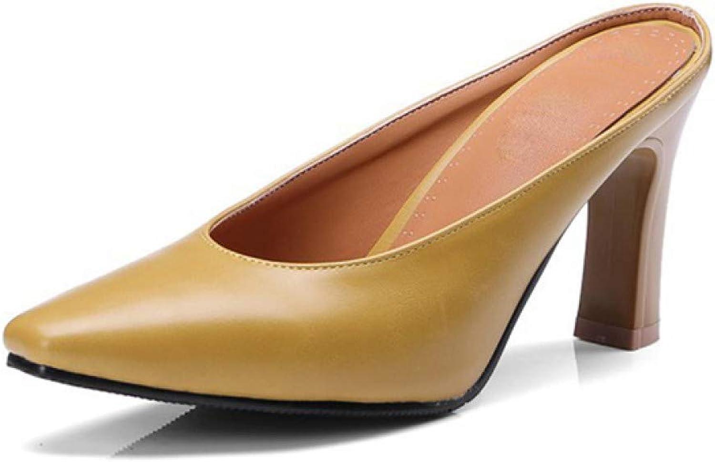PINGXIANNV Leder Frauen Hausschuhe High Heels Schuhe Mules Spitz Sommer Schuhe Frau Schwarz Starke Ferse Outdoor Hausschuhe B07PCRXSHH  Sehr gute Farbe