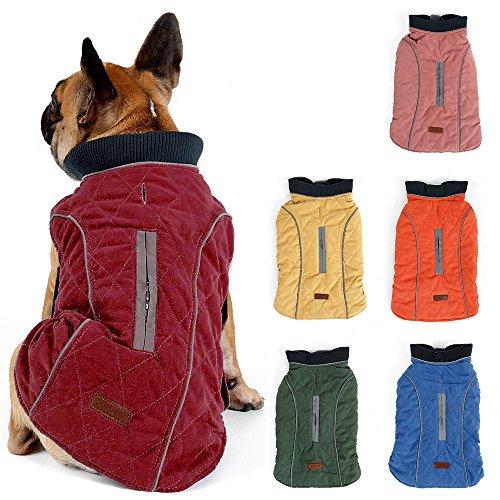 TFENG Reflektierend Hundejacke für Hunde, Hundemantel Warm gepolstert Puffer Weste Welpen Regenmantel mit Fleece (Rot, Größe XL)