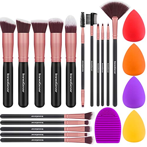 InnoGear Makeup Brushes Set, Professional Cosmetic Brush Set with 16 Makeup Brushes and Sponges and Brush Cleaner for Foundation Powder Concealers Eyeshadows Liquid Cream