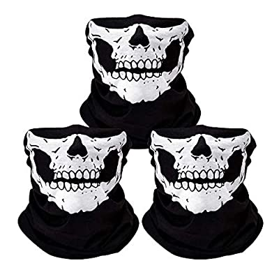 3Pcs Skull Mask Breathable Face Masks Black Seamless Balaclava Mask for Outdoor