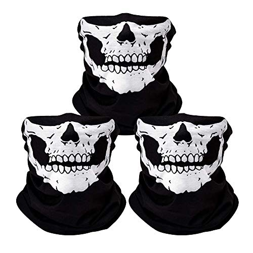 3Pcs Skull Mask Breathable Face Masks Black Seamless Balaclava Mask for Outdoor