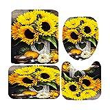 Sonnenblumen Duschvorhang Set, 1 × Sonnenblumen-Duschvorhang, 12 x leistungsstarke Haken, 1 x Badematte, 1 x Toilettendeckel, 1 x U-förmiger Teppich, Duschvorhang Sonnenblumen Badezimmerteppich Set