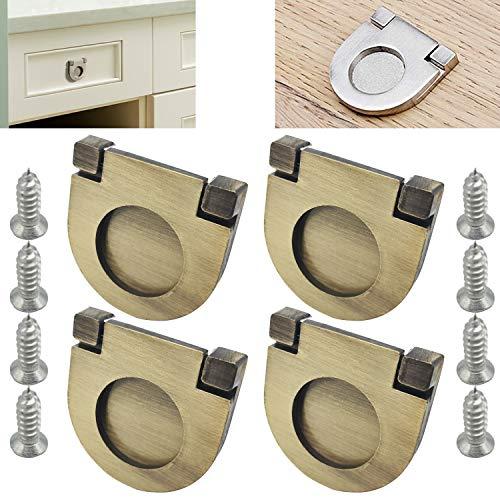 CTRICALVER 4pcs Acciaio Inossidabile Maniglie Invisibili | bronzo Maniglie e pomelli cassetti per Ante di mobili |per porte per armadio da cucina armadio cassetto (35mm)