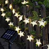 Tanouve Cadena Luces Solares, Guirnalda luces LED con 7M 50 Estrellas LED en Color Blanco Cálido Impermeable Decoración Exterior/Interior Casa Jardín para Fiesta Navidad Bodas