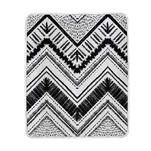 My Daily - Manta de microfibra de poliéster con diseño de rayas tribales y negras, 127 x 152 cm