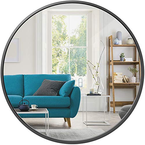 Best Choice Products 36in Framed Round Wall Mirror for Bathroom Vanity, Bedroom, Bathroom, Living Room, Home Décor w/High Clarity Reflection, Anti-Blast Film - Matte Black