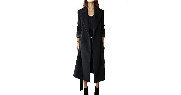 VITryst-Women Classics Fold-Collar//Lapel Wool Slimming Woolen Coat