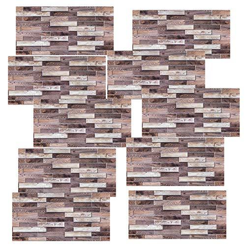 3D-Effekt Peel and Stick Wandfliesen für Küche und Bad, wasserdichte PVC + Schwammfliesenaufkleber, Backsplash Tiles Selbstklebende Fliesen-2614_30 cm * 60 cm * 10 Stück