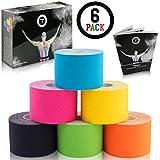 Talasi Kinesiologie Tape Set - 6 Rollen Mix zu je 5cm x 5m  inkl. Tape-Guide mit Infos und Anleitungen zum Tapen mit Kinesio Tapes