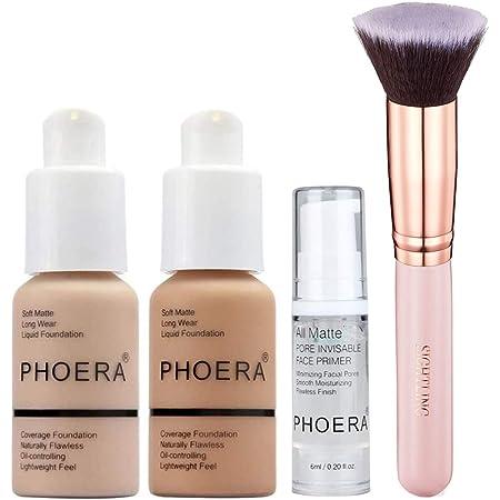 PHOERA 30ml Foundation Liquid Full Coverage 24HR Matte Oil Control Concealer (Nude & Buff Beige) with 6ml Makeup Face Primer & Kabuki Foundation Brush Flat Top