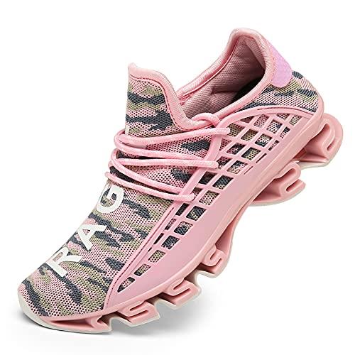 DUORO Herren Laufschuhe Damen Casual Sneakers Atmungsaktiv Mesh Trot on Blade Athletic Leicht Tennis Sportschuhe für Herren, Camouflagepink, thumbnail