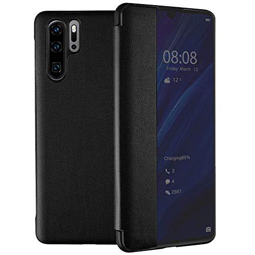 Oihxse Compatible pour Huawei P Smart 2018 Coque Ultra-Mince Portefeuille View Flip Stand PU Cuir Housse Antichoc Affaires 360°Protection Etui pour Huawei P Smart 2018 (Noir)