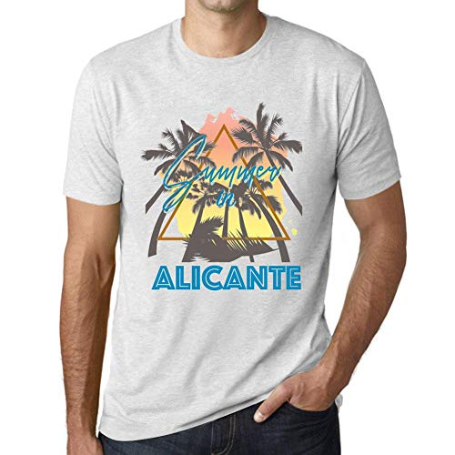 One in the City Hombre Camiseta Vintage T-Shirt Gráfico Summer Triangle Alicante Blanco Moteado