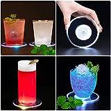Posavasos LED, Posavasos con luz LED Botellas de Luces Cristal Ultrafino Posavasos con luz LED Posavasos de Cóctel (Azul, 4 Piezas)