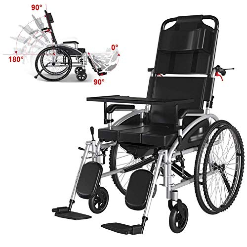 Lightweight Wheelchair,foldable Wheelchair with Reclinable Backrest,compact Mobility Assistance Wheelchair for the Elderly, Disabled,48.5cm Seat,portable