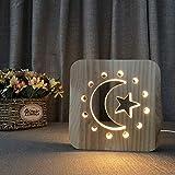 FYRMMD Rodeado de Luna y Estrellas Luz Nocturna Durable Pintado Grabado Pino 3D Vibe Lámpara de mesita de Noche Lámpara Duradera (lámpara de Noche)