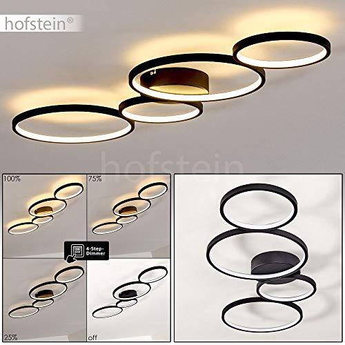 LED Deckenleuchte Rodekro, moderne Deckenlampe aus Metall in Schwarz, 37 Watt, 3300 Lumen, Lichtfarbe 3000 Kelvin (warmweiß), dimmbar über Lichtschalter