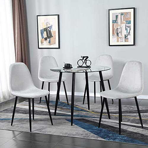 Dining Table Set Modern Dining Room Set with Rectangular Glass Table