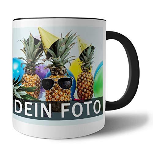 Tasse mit persönlichem Foto und Text zum selbst gestalten (Fototasse, Kaffeebecher mit individuellem Druck, Farbiger Henkel und Trinkrand, mit personalisierbarem Foto, spülmaschinenfest), schwarz