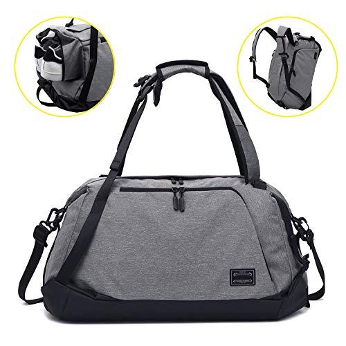 ITSHINY Sporttasche für männer Frauen, Umhängetasche für das Fitnessstudio, Reiserucksack,Gym Bag 3 in 1 Design mit Schuhfach, Gym Tasche wasserdicht und leicht (Grey-Schultertasche)