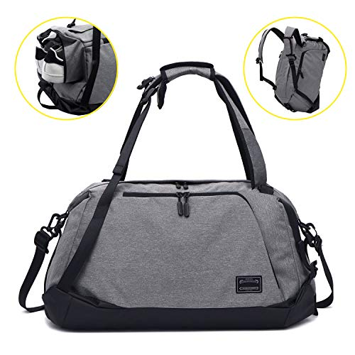 Sporttasche für männer Frauen, Umhängetasche für das Fitnessstudio, Reiserucksack,Gym Bag 3 in 1 Design mit Schuhfach, Gym Tasche wasserdicht und leicht (Grey-Schultertasche)
